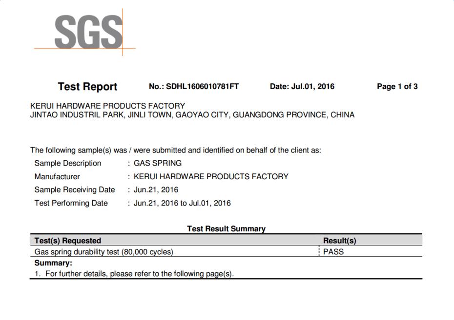 SGS Test Report for Kerui Hardware Factory